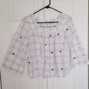 Madewell buttons down square pattern top size xs